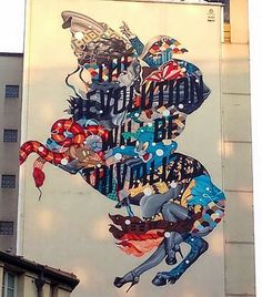 """""""The Revolution Will Be Trivialized"""" by Tristan Eaton in the 13th district on rue de Chevaleret, Paris. 10/14 (LP)"""