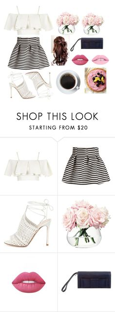 """""""Pink and Blue"""" by averyr2005 ❤ liked on Polyvore featuring Topshop, Molo, Gianvito Rossi, LSA International, Lime Crime and Kate Spade"""