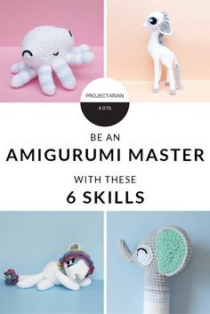 Amigurumi Crochet Six skills that will make you an Amigurumi Master! - Never again be intimidated by an amigurumi pattern! With these 6 skills, you'll be unstoppable - ready to conquer the amigurumi patterns of the world. Knit Or Crochet, Crochet Gifts, Learn To Crochet, Cute Crochet, Crochet Dolls, Crochet Stitches, Crochet Food, Knitted Dolls, Yarn Projects