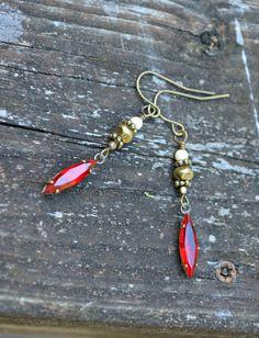 Scarlet Jewel Earrings with Vintage Glass by practicallyfrivolous