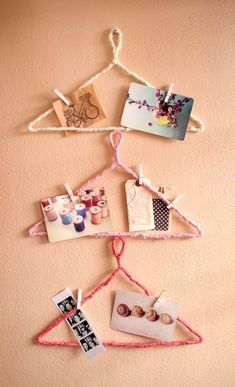 Wrap wire hangers, the possibilities are endless... // 11 DIY Yarn Crafts That Add Charm To The House