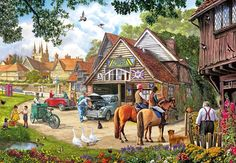 Gibsons Afternoon Amble in the Village 1000 Piece Jigsaw Puzzle Cottage Wallpaper, Best Jigsaw, Puzzle Art, Puzzle 1000, Puzzle Shop, Most Popular Artists, Nostalgic Art, Old Garage, Cartoon Art Styles