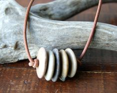 Beach stone necklace gray FAUX suede cord Cairn by WearYourWild