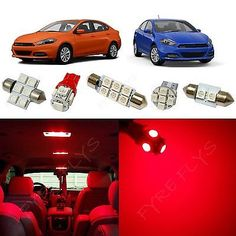 6x-Red-LED-lights-interior-package-kit-for-2013-2016-Dodge-Dart-DD2R