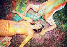 Have a paint fight and get colored from head to toe | 28 Ways To Trash Your Wedding Dress