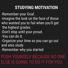 10 ways to motivate yourself to study smarter Acknowledge your resistance and difficult feelings with motivation It may be helpful to… Exam Motivation, Study Motivation Quotes, Student Motivation, Motivation Inspiration, Daily Inspiration, Motivation Pictures, Powerful Motivational Quotes, Inspirational Quotes, Study Hard Quotes