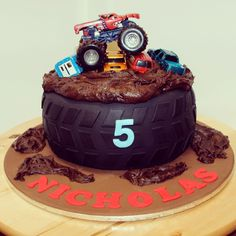 For Jacob! Monster Truck Cake - hazelnut mud cake with vanilla bean ganache by Sweet Palate