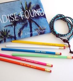 A Day at the Beach! Colorful pencils with beach sayings. Featured on Beach Bliss Living: http://beachblissliving.com/pencils-for-the-beach-obsessed/