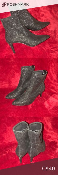 """Maye black glitter fabric boots with a 3"""" heel Bought these boots at the Bay with original price on bottom. Glittery black fabric boots, stretchy material, never been worn, size 9. expression Shoes Heeled Boots High Leather Boots, Black Heel Boots, Leather Riding Boots, Black Faux Leather, Heeled Boots, Kids Cowboy Boots, Roper Cowboy Boots, Michael Kors Boots, Tall Riding Boots"""
