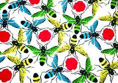 Corita Rose's Swarm printed on cotton velvet