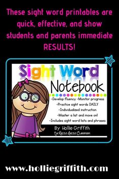 These sight word printables are quick, effective, and show students and parents immediate RESULTS! The activities are perfect for progress monitoring and ensuring that you have your RTI data. They also provide daily sight word practice and instruction. #HollieGriffithTeaching #KidsActivities #SightWords