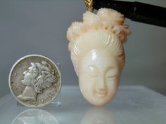 Vintage Carved Angel Skin Pink Coral 14k Yellow Gold Pendant for Necklace Kwan Yin Design 10.70 grams 43.40 mm Rare DanPickedMinerals