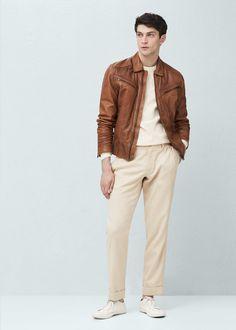 Leather aviator jacket | MANGO MAN