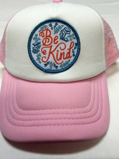 Toddler/Kids Girl's Trucker Hat pink with Be Kind by magicalscraps