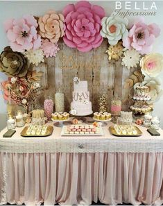 IG & Blush & Gold Dessert table - paper flower backdrop - cakes - name sign - linen - cupcakes - French macarons For rent or purchase. IE We ship flowers nationwide. Fiesta Shower, Shower Party, Baby Shower Candy Table, Shower Favors, Girly Baby Shower Themes, Baby Shower Flowers, Gold Dessert Table, Dessert Table Backdrop, Babyshower Dessert Table