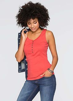 A classic cotton jersey tank with a button at the scoop neckline. Machine washable. 100% Cotton. Length approx. 66 cm.