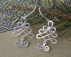 Celtic Tree Sterling Silver Wire Earrings by nicholasandfelice,  $22.00