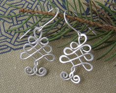 Celtic Tree Sterling Silver Wire Earrings by nicholasandfelice, $22.00