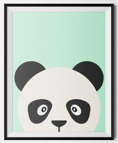 peekaboo panda wall art for a boys or girls nursery