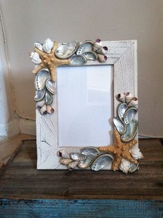 Beach Decor Seashell Picture Frame  White Shell by ShellsUnlimited, $40.00