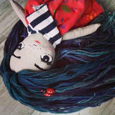 Doll Hair by @tankannatoys | malabrigo Rastita in Peacock