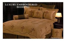 Barbwire Crosses Comforter Set - Dark Tan - InteriorDecorating