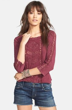 Free People 'Truly Madly' Crochet Trim Tee | Nordstrom