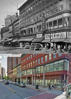 South Pearl and Husdon Ave,. Albany NY 1930 and 2013....in the 70's and 80's this was Morris and Bernstein Furniture Company where my Father worked.