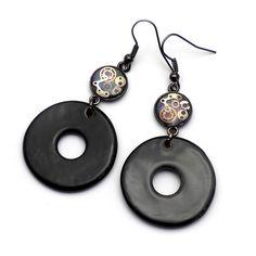 Ceramic steampunk earrings , #ceramicjewerelly, #handmadejewerly, #craft, #ceramikagar,#steampunk, #ceramicearrings
