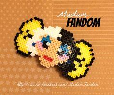 CRUELLA DE VIL Hair Bow Barrette (Perler Beads) by MadamFandom on etsy  http://www.facebook.com/MadamFandom    This is a MadamFandom original design. PLEASE GIVE CREDIT IF COPYING.   #CruellaDeVil #Disney #Villains #101Dalmations #PerlerBeads #MadamFandom
