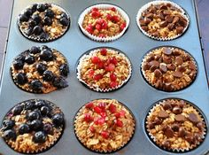 A La Graham: Individual Baked Oatmeal Cups- Clean Eating Healthy Desayunos, Healthy Snacks, Healthy Eating, Healthy Recipes, 21dayfix Recipes, Tasty Meals, Healthy Muffins, Clean Eating Recipes, Cooking Recipes