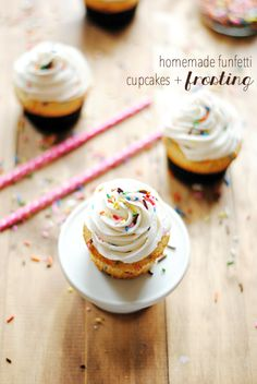 Homemade Funfetti Cupcakes & Frosting | www.somethingswanky.com