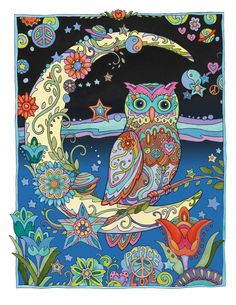 Owl lovers and colorists worldwide are captivated by this gallery of these  wisest of birds. Owls features 31 drawings, with each owl in a whimsical,  themed setting surrounded by flowers, butterflies, stars, and all manner of  detailed designs.