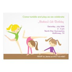 Gymnastics Girls Birthday Party Invitation Personalized Invite