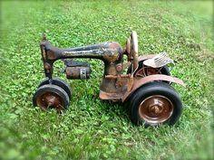 Repurposed Sewing Machine Tractor