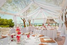 Clear top tent with white drapery Beach wedding Florida Keys Weather, Tent Decorations, Wedding Decorations, Beach Club Resort, Florida Keys Wedding, Top Tents, Beach Wedding Inspiration, Beach Weddings, Wedding Night
