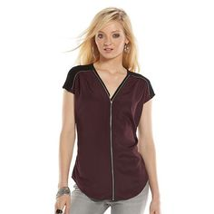 Rock & Republic® Zipper-Trim Crepe Top - Women's
