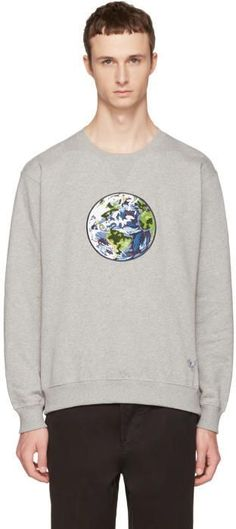 Coach 1941 Grey Planet Earth Sweatshirt