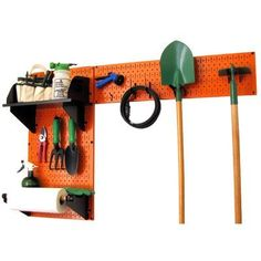 Wall Control 30-GRD-200 ORB Pegboard Garden Supplies Storage and Organization Garden Tool Organizer Kit with Orange Pegboard and Black Accessories