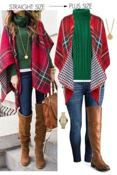 Straight Size To Plus Size  Plaid Shawl Outfit - Plus Size Fashion for Women - alexawebb.com #alexawebb