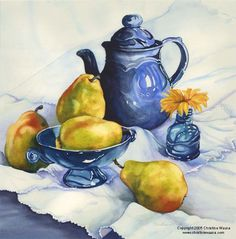 Christine's Gallery :: Christine's Watercolor Gallery :: Pears_in_Blue_Glass