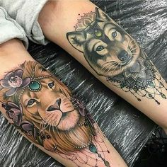 Very girly designs of two great beasts to get a tattoo of. if you enjoy the wolf tattoo idea, take a look at our amazing list of the best wolf tattoos out Tattoo Life, Tattoo Son, Tattoo Henna, Get A Tattoo, Arm Band Tattoo, Paar Tattoos, Bild Tattoos, Body Art Tattoos, Cool Tattoos