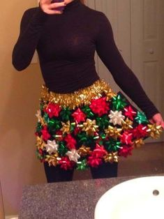 Office Christmas Party Outfit Diy ugly christmas sweater Ugly Christmas Skirt with Bows - Ugly Christmas Sweater Party by on Easy Christmas Crafts For Gifts For Adults, Christmas Party Ideas For Teens, Adult Christmas Party, Christmas Skirt, Diy Ugly Christmas Sweater, Office Christmas Party, Christmas Bows, Christmas Outfits, Christmas Colors
