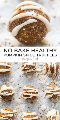 These No-Bake Pumpkin Spice Truffles are the perfect party or holiday sweet treat! Easy to make and made with healthy ingredients. Tastes like you're eating a slice of pumpkin pie, but in reality, it's more like a little energy ball recipe! Healthy Holiday Recipes, Fall Recipes, Gourmet Recipes, Snack Recipes, Dessert Recipes, Healthy Pumpkin, Baked Pumpkin, Pumpkin Recipes, Pumpkin Spice