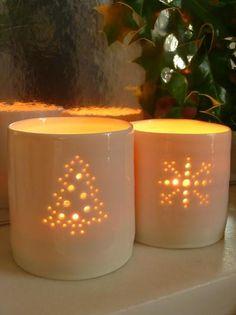Christmas Tree and Snowflake porcelain tealight holders by Luna Lighting