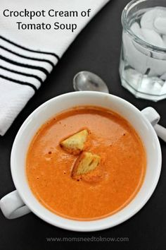 Tomato soup is probably one of my favorite soups to have on a cold day. It's just pure comfort food and this recipe cooks in the crockpot, so you have delicious tomato soup with little effort!