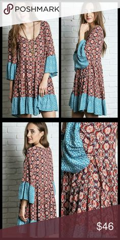 Coral and Blue Floral Print Bell Sleeve Dress Easy breezy flawless patchwork dresss.  100% Rayon. Hand wash separately in cold water. Hang to dry.   Dresses