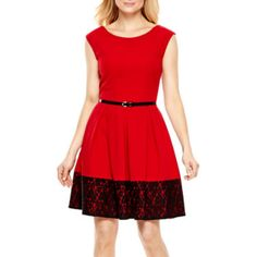 Tiana B. Cap-Sleeve Lace Hem Fit-and-Flare Dress - JCPenney