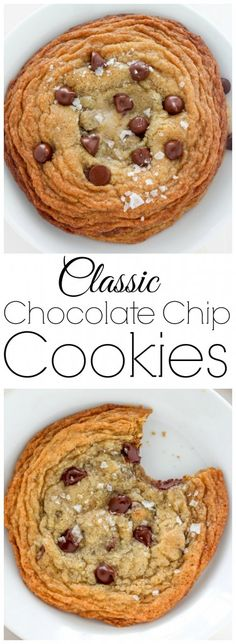 YUM! Classic Chocolate Chip Cookies are thick, chewy, and loaded with chocolate chips!!!