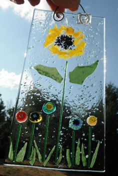 Bloom where you are planted!  Frit, millefiori, streamers and confetti tack fused.